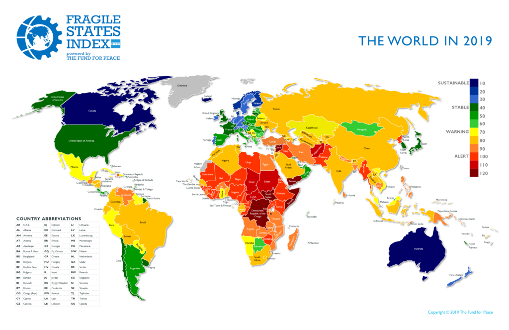 Fragile States Index 2019 by Fund For Peace