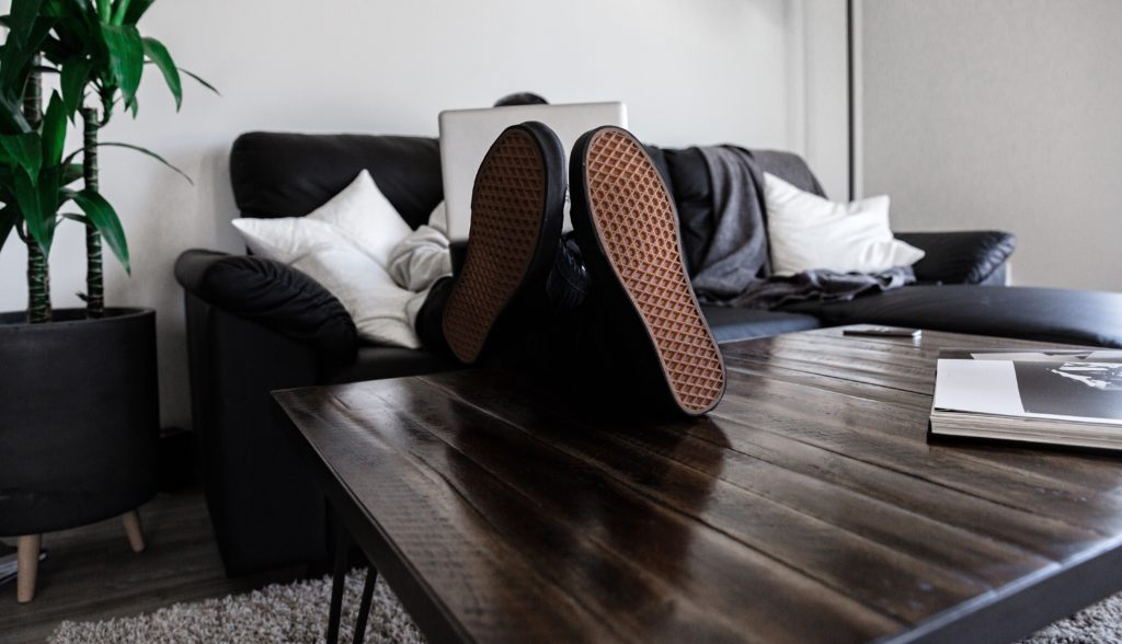 Worling from home feet coffee table